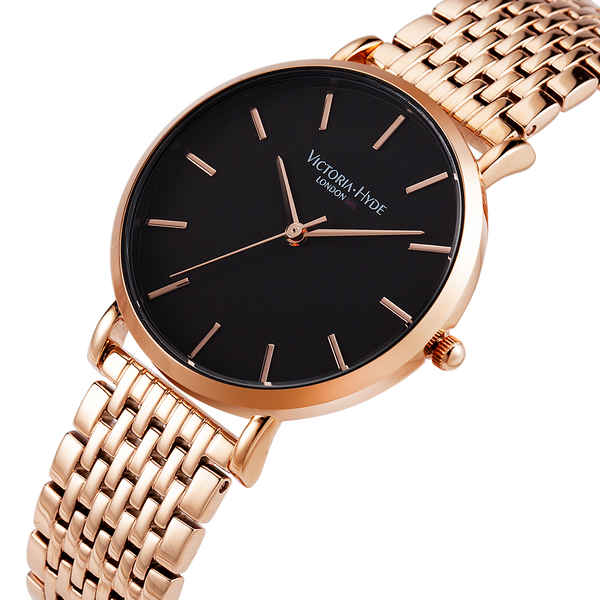 Watch Richmond Classic Stainless Steel Rose Gold Black