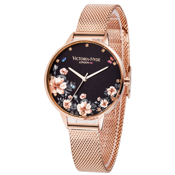Watch Green Park Flower Mesh Rose Gold Black