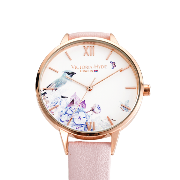 Watch Green Park Flower Leather Rose White
