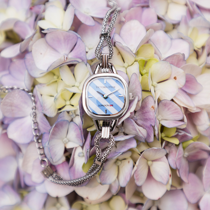 Watch Oxford Circus Edged Mesh Silver Blue