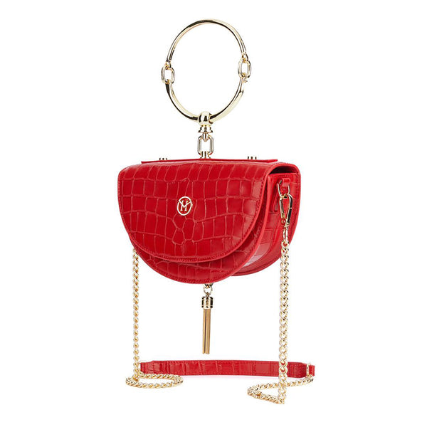 Vintage Half-Moon Bag Leather Red