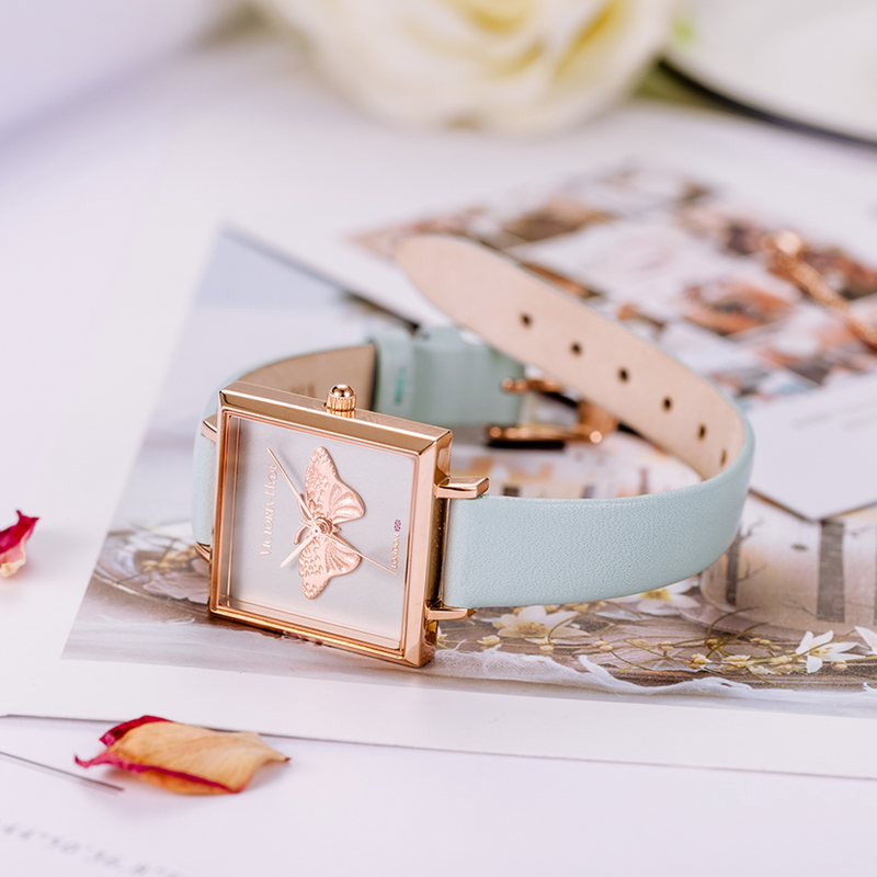 Watch Maida Vale Butterfly Edged Leather Blue Rose Gold