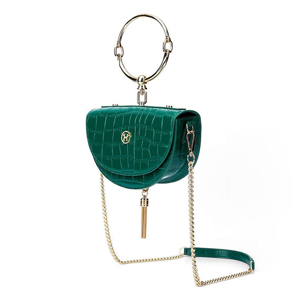 Vintage Half-Moon Bag Leather Green
