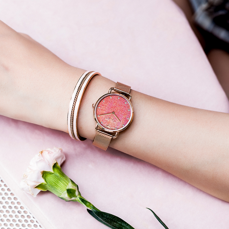 Watch Galaxy Sparkle Mesh Rose Gold Red