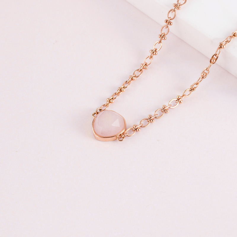 Necklace Stone Jade Rose Gold