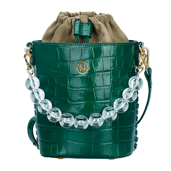 Bead Chain Bucket Bag Leather Green