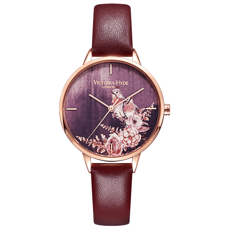 Watch Green Park Flower Leather Red