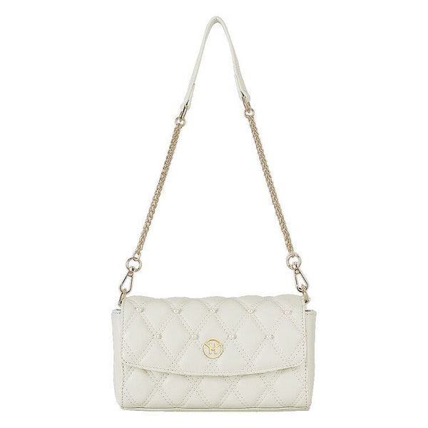 Pearl Quilted Shoulder Bag Leather White