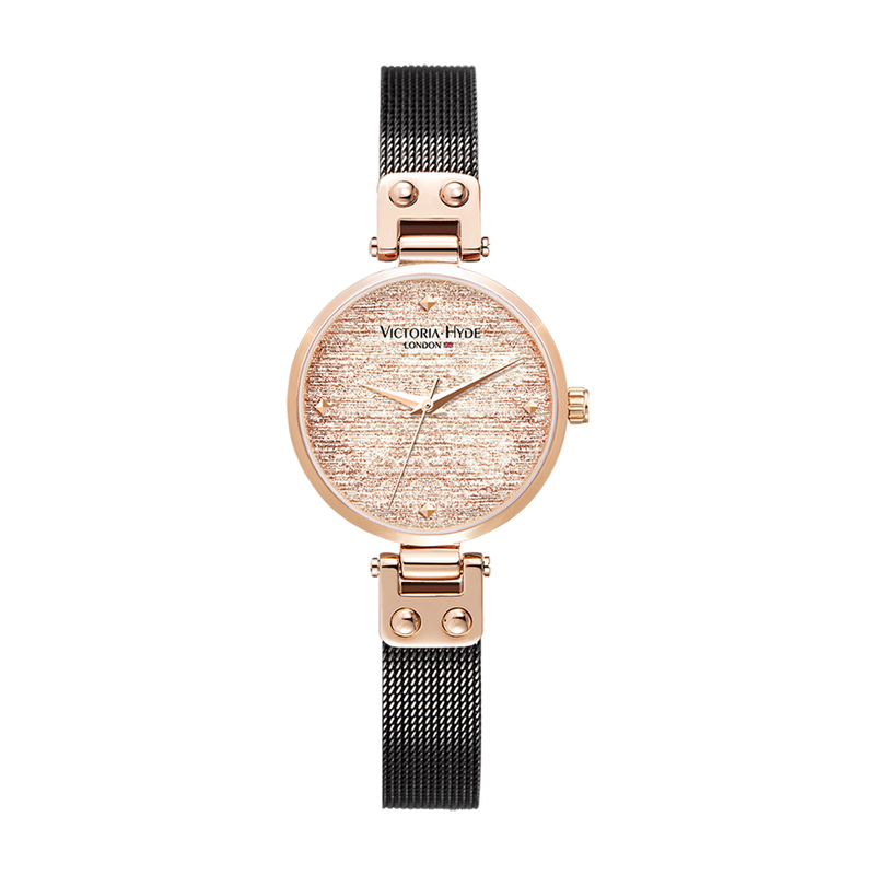 Watch Osterley Glossy Mesh Black Rose Gold