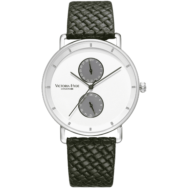 Watch Grange Hill Date Leather Black White