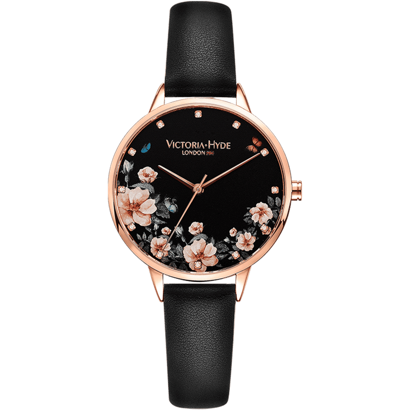 Watch Green Park Flower Leather Black
