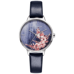 Watch Green Park Flower Leather Blue