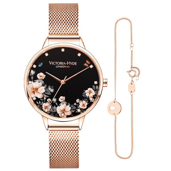Gift Set Green Park Flower Rose Gold Black