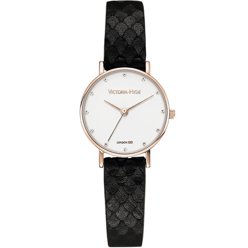 Watch Loughton Pearl Leather Black White