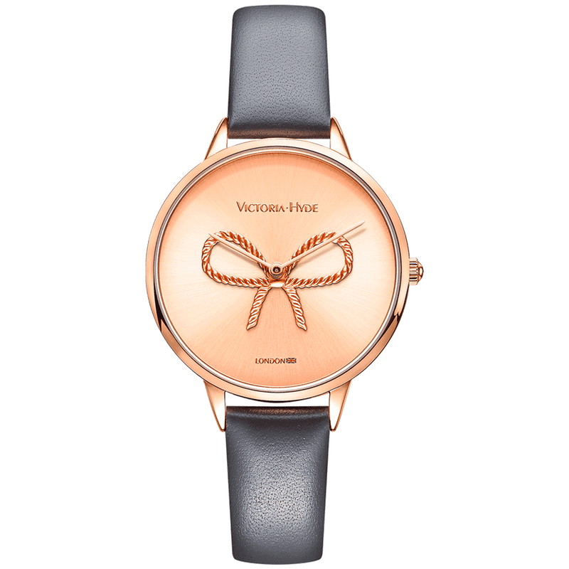 Watch Maida Vale Bow Leather Grey Rose Gold