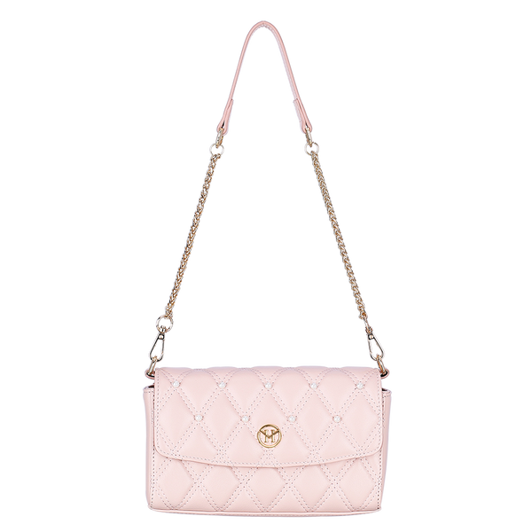 Pearl Quilted Shoulder Bag Leather Light Pink