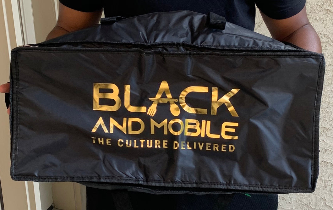 Black and Mobile Hand Held Food Delivery Bag