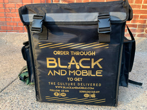 Black and Mobile Large Food Delivery Bag