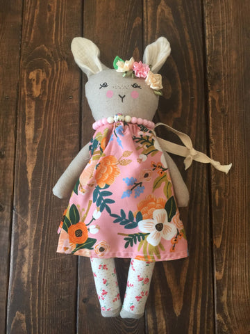 Heirloom Floral Girl Bunny Dolls