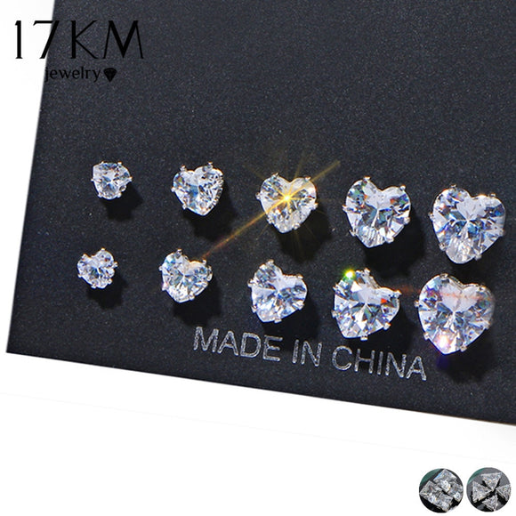 a85e155b1 17KM Geometric Cubic Zirconia Stud Earrings Set For Woman Fashion Round  Heart Triangle Earring Statement Party