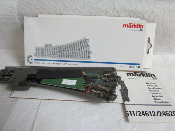 Marklin HO 24611 C Track Electric L/H Turnout with Decoder.