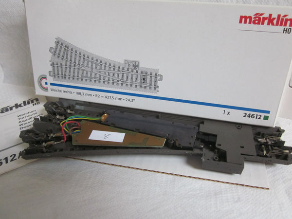 Marklin HO 24612 C Track Electric R/H Turnout with Decoder.