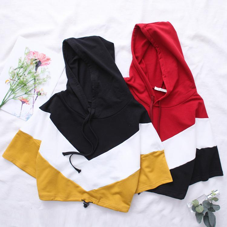 Three Tone Colorblock Half Sleeve Hoodie