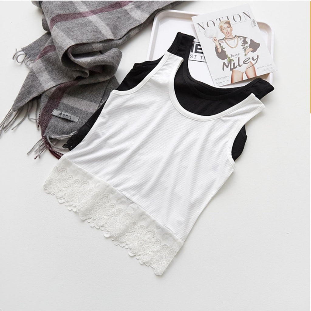 Comfortable Breathable Lace Hem Tank Top