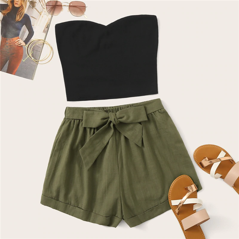 Tube Crop Top & Belted Shorts (2 Piece Set)
