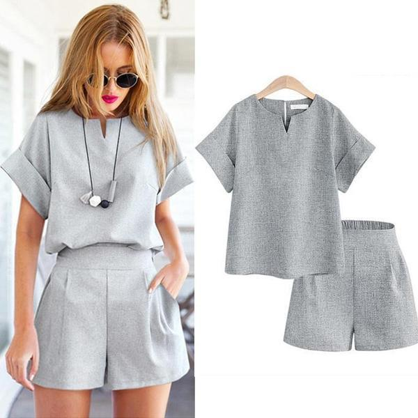 V-Neck T-Shirt & Shorts Set