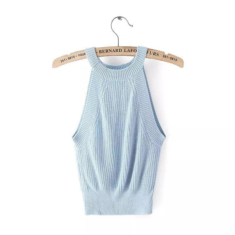 O-Neck Halter Knitted Top
