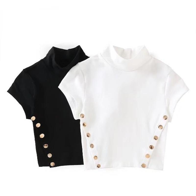 Side Button-Up Stand Collar T-Shirt