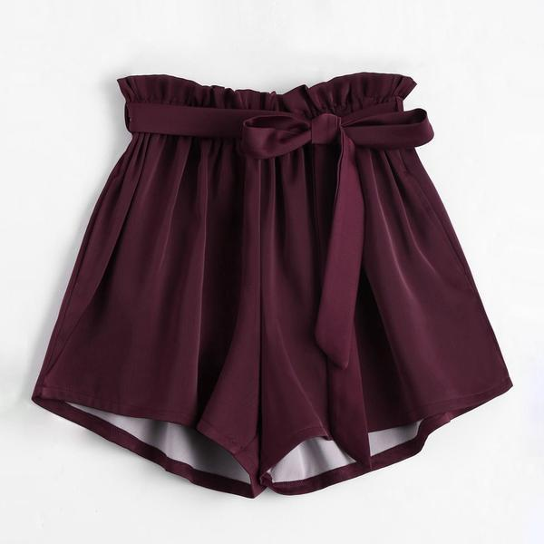 Sashed Elastic Waist Skirt Shorts
