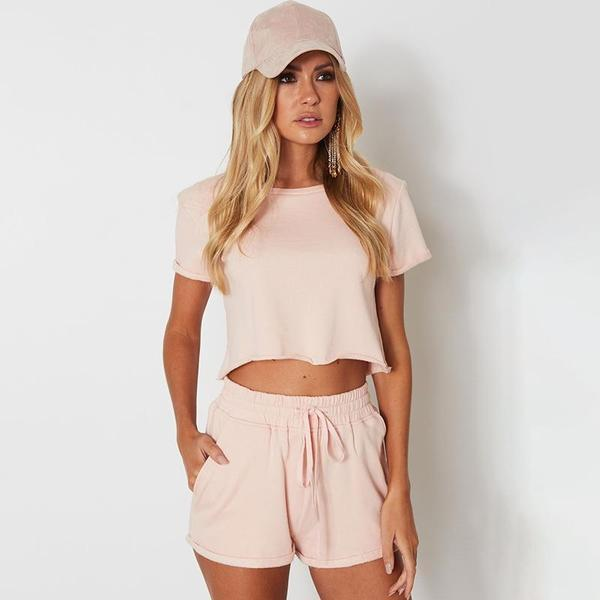 Pink Crop Top & Elastic Waist Shorts Set