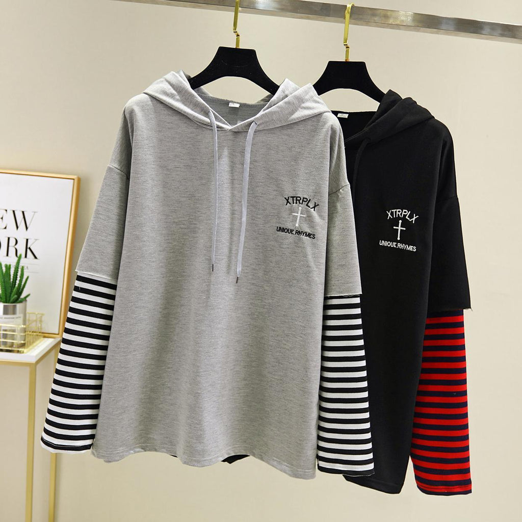 Striped Double Layer Sleeve Hoodie