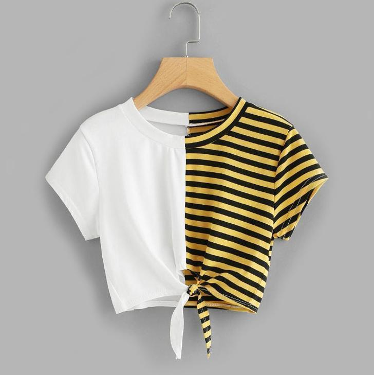 Two Tone Striped Bow Tie Crop T-Shirt