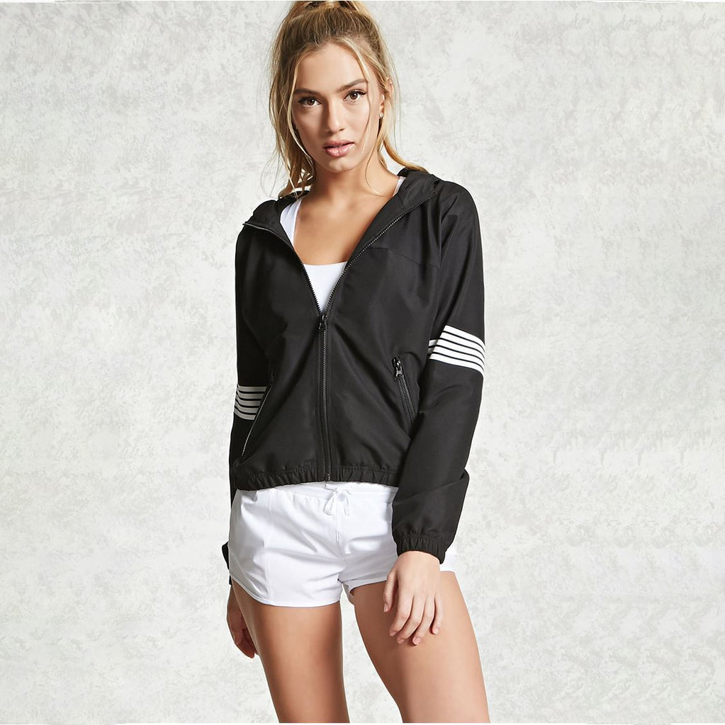 Striped Windbreaker Coat