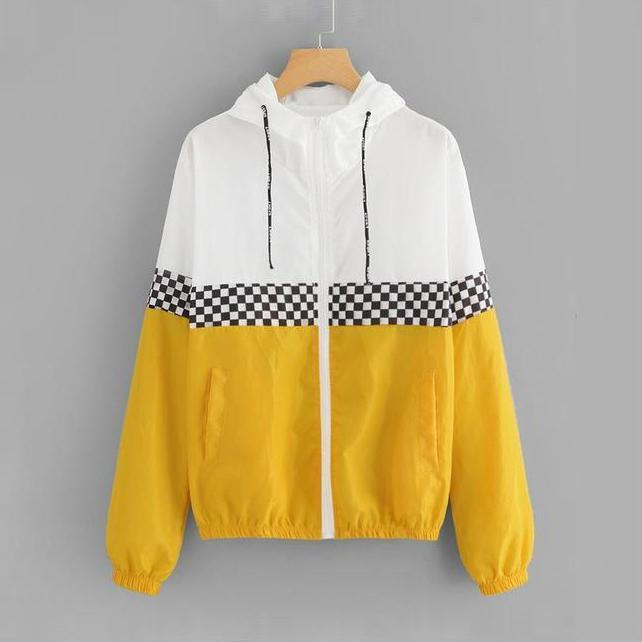 Plaid Stripe Colorblock Lined Windbreaker Jacket
