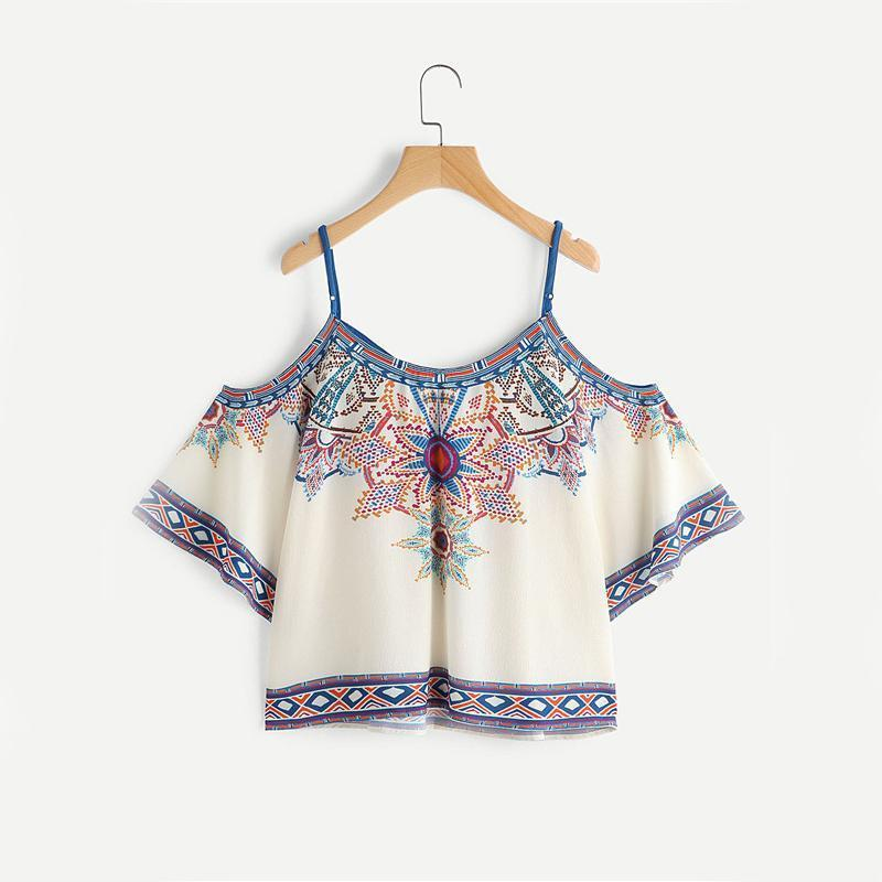 Boho Open Shoulder Blouse