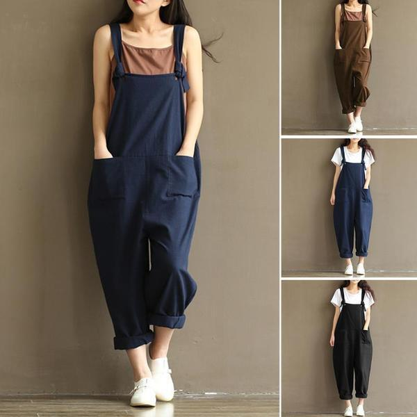 Loose Wide Leg Overall Pants