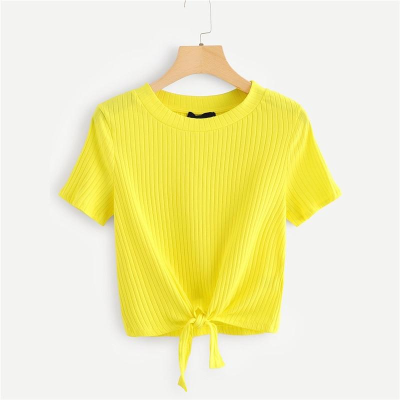 Bow Tie Rib-Knit T-Shirt