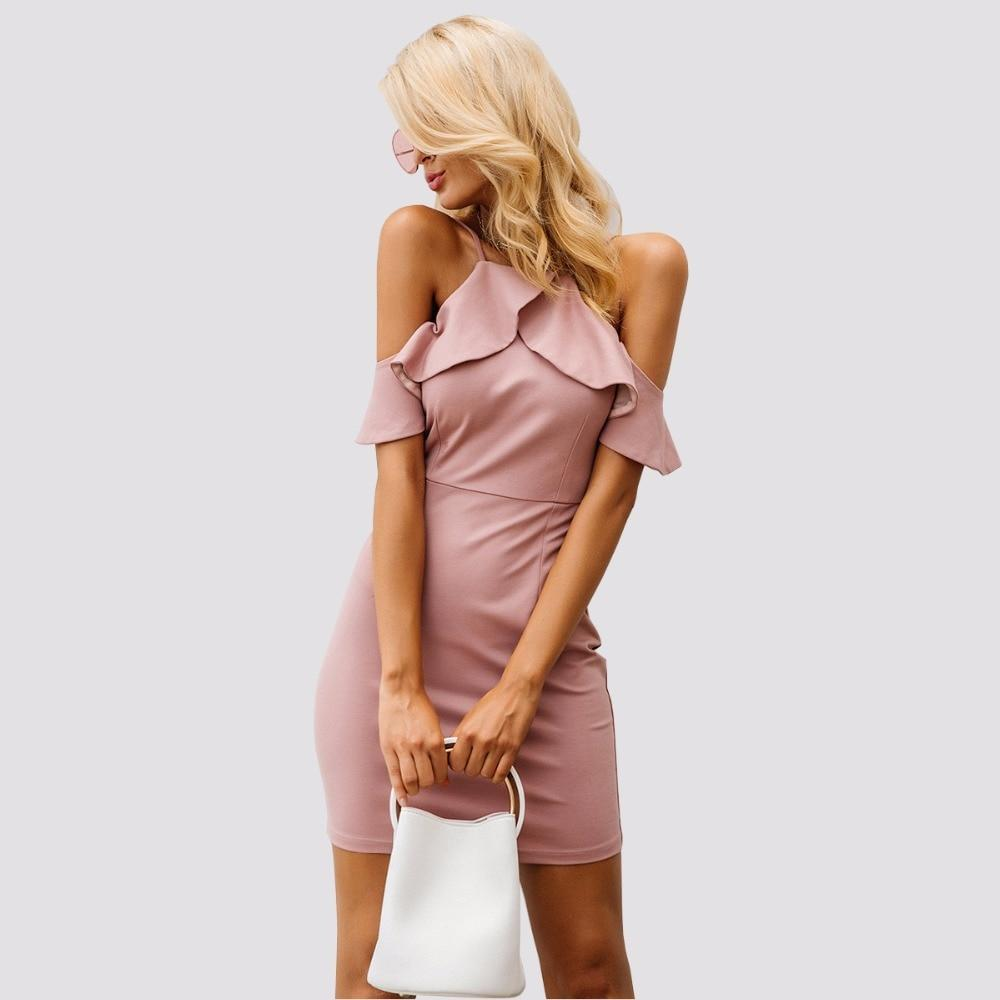 Ruffled Halter Collar Dress