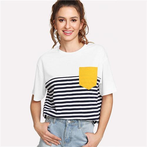 Pocket Patched Striped T-Shirt