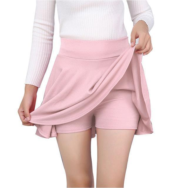 High Waist Mini Skirt With Lining Shorts