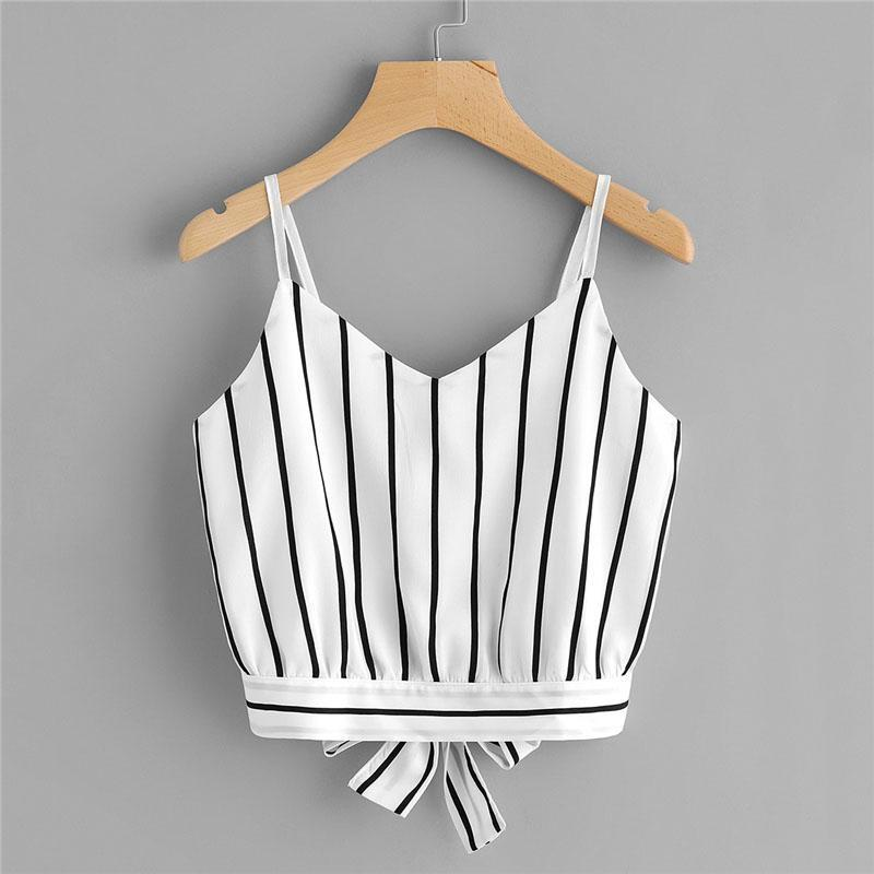 Striped Bow Tie Crop Top