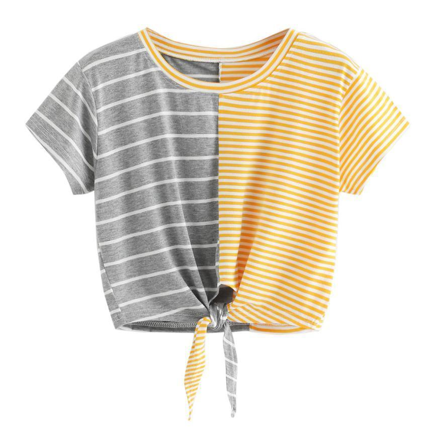 Two Tone Striped Bow Tie T-Shirt