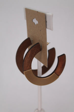 Wood & Gold Semi Circle Earrings