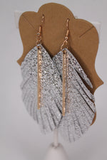 Feathered Metallic Bar Earrings