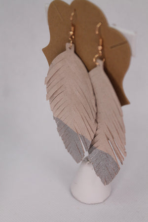 Dipped Feather Dangle Earrings