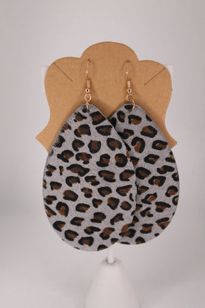 Leather Leopard Dangle Earrings